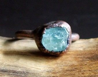 Aquamarine Raw Crystal Ring Midwest Alchemy Size 6.5 Natural Rough Stone Jewelry Copper March Birthstone