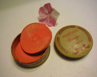 Art Deco Heather Rouge Make Up with contents Advertising Tin Box Blush OrAmber Bright Vintage
