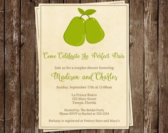 Perfect Pear, Bridal Shower, Invitations, Wedding, Green, Natural, Brown, Couple, 10 Printed Invites with Envelopes, FREE Shipping, PERPA