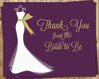Bridal Shower Thank You Cards, Wedding Dress, Purple, Gold, White Gown, 24 Notes with Envelopes, FREE Ship, ELGPL, Elegant Gown Plum