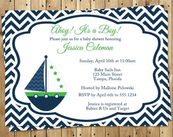 Nautical, Baby Shower, Invitations, Boys, Chevron, Stripes, Boat, Lime, Navy, Gender Neutral, Sailboat, Green, 10 Printed Invites, NCSNG