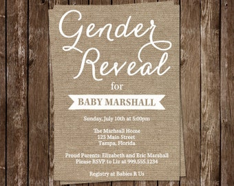 Gender Reveal, Baby Shower, Invitations, Shabby, Country, Chic, Rustic, Burlap, Neutral, Ivory, Unisex, 10 Printed Invites, FREE Shipping