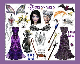 Handmade Digital Art Halloween Paper Doll Collage Sheet Witch Scary Fairy  Spooky JPEG PNG Printable Altered Art Journal Scrapbooking