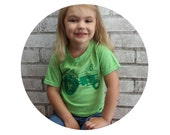 Childrens Tractor Tshirt, Cotton Crewneck Toddler Tshirt, Hand Screen Printed Graphic Tee Farming and Agriculture Farm Equipment Lime Green