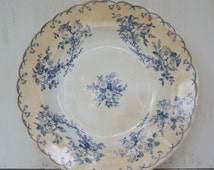 Antique French Porcelain Blue and White Transferware Bowl -  Sarreguemines 19th Century