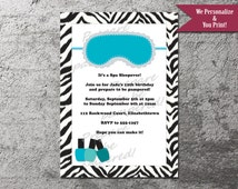 Spa Mask & Nail Polish Zebra Print Party Invitation