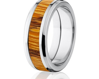 New Marble Wood Rings, Exotic Hard Wood Wedding Band w/ Comfort Fit: 8B_Marble Wood