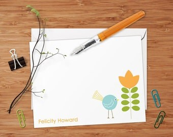 Felicity (Chick and Retro Tree) Set of 8 CUSTOM Personalized Flat Note Cards/ Stationery
