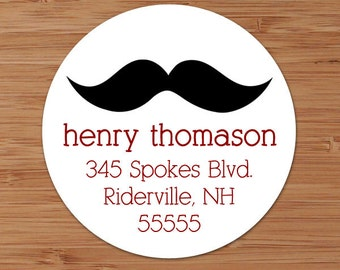 Mustache Custom Address Labels or Stickers