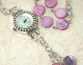 Womens Watch Pendant, Pink with Purple Colored Shell Disc Beaded Watch Necklace