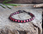 Pink Agate Braided Leather Bracelets, Unisex Bracelet