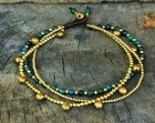 Sweet Chrysocolla Brass Bell Chain Anklet
