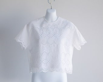 Short Sleeved, Eyelet Cotton Blouse - Sz L