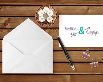 Personalized - ARROW COUPLE - Note Cards - Personalized Stationery - Stationery Set - Wedding Stationery - Engagement Announcement