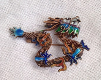 Vintage Gilded Chinese Dragon Enamel Brooch