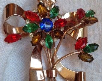 Coro Craft Sterling Brooch Gold Wash Rhinestones