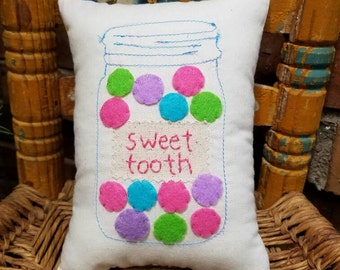 Mason Jar of Gumballs Children's Accent Tooth Fairy Pillow