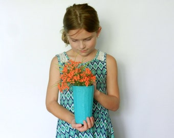 Teal vase  /  blue green Vase / teal home / Modern Country Cottage / handcrafted vase / Carriage Oak Cottage