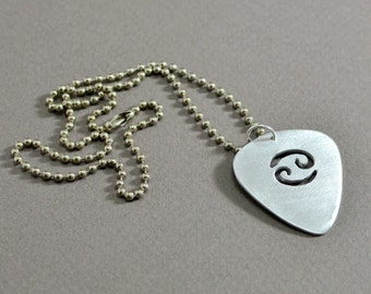 sterling guitar pick pendant with personalized horoscope sign
