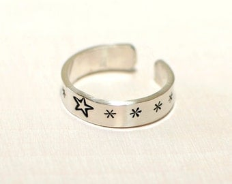 Sterling silver toe ring for the stars - solid 925 - TR721