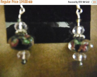 Gorgeous Rose Glass Beaded Earrings in Pink-- CLEARANCE SALES