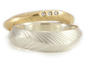 Rustic Wedding Ring Diamond Wedding ring Wedding Stacking Rings Eco Friendly Argentium Silver Stacking Ring Set