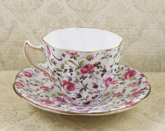 Vintage Rosina Pink and Purle Floral Chintz Bone China Teacup