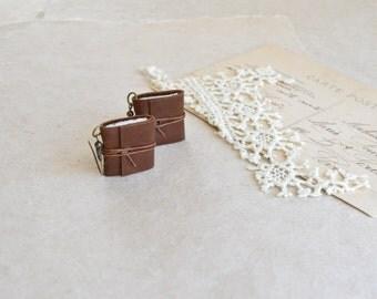 Brown Leather Book Earrings