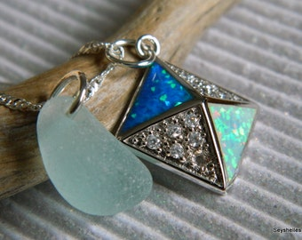 Sea Glass with Fire Opal, Sterling Silver Pendant
