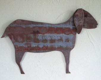 Metal Wall Art Sculpture Goat Folk Art Farm Animal Home Decor Recycled Metal Wall Sculpture Barnyard Rusted Metal Wall Hanging Rustic Goat