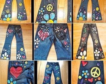 Flower Child Hippie Hand-Painted Jeans-Childrens Sizes