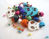 Sugar Skull Bead Mix, Howlite 4mm Spacer Beads, Colorful, Day of the Dead, Halloween, Jewelry Supplies, Destash