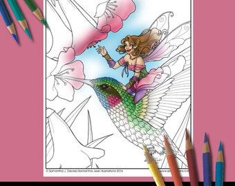 Fairy Coloring Page, Fantasy Coloring Pages, Hummingbird, Adult Coloring Pages, Printable Coloring Pages, Coloring Pages to Print