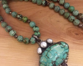 Fall into Vintage SALE Beautiful Green Tibetan Turquoise Pearl Garnet Sterling Silver Vintage Necklace