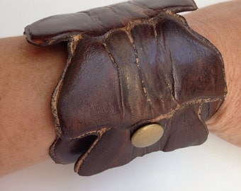 Brown leather vertabra wrist cuff 3, Post Apocalyptic, Burning Man, Leather Jewelry, Wasteland Leather, Tribal Fusion