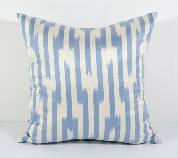 15x15 Throw Pillow Cover : 15x15 ikat pillow cover blue stripes pillow cover cushion