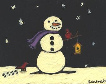 Snowman with Birds custom acrylic original canvas painting 5x7 free personalization