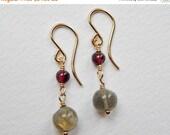 Garnet and Labradorite Earrings - Gold Filled Beaded Earrings Dangle Wire Wrapped Beadwork Earrings