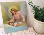 vintage Guardian Angel religious art print on textured heavy stock paper. Shabby cottage baby nursery, child bedroom decor. Green blue pink