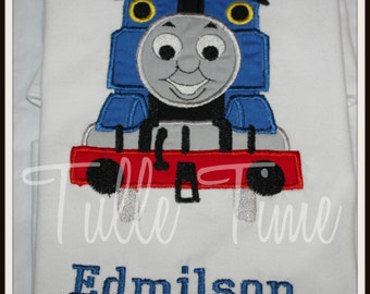 Thomas the Train embroidered top with name size 2t, 3t, 4t, 5t, Xs, S