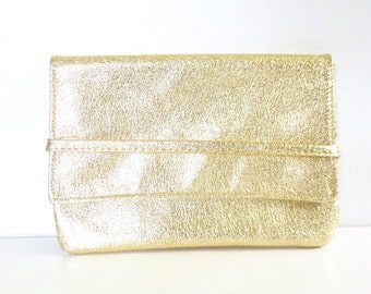 Vintage Fold Over Metallic Gold/Silver Clutch
