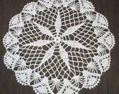 White Crocheted Centerpiece Doily vintage