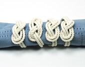 Nautical Figure Eight Infinity Knot Napkin Rings Natural White Rope Set of 4