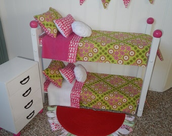 "American Made 18"" Doll BUNKBED Bunk Bed Fits AMERICAN GIRL Dolls..& matching dresser bunting rug trendy holiday shopping gorgeous room set"