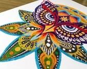 Instant Download Printable Art. Sand Art Owl Mandala.
