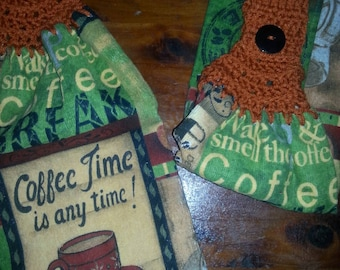Crochet top kitchen towel - Coffee
