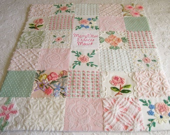 """Personalized Vintage Chenille Baby Quilt - """"Royalty"""" - Custom - Boutique quality bedding for your little one."""