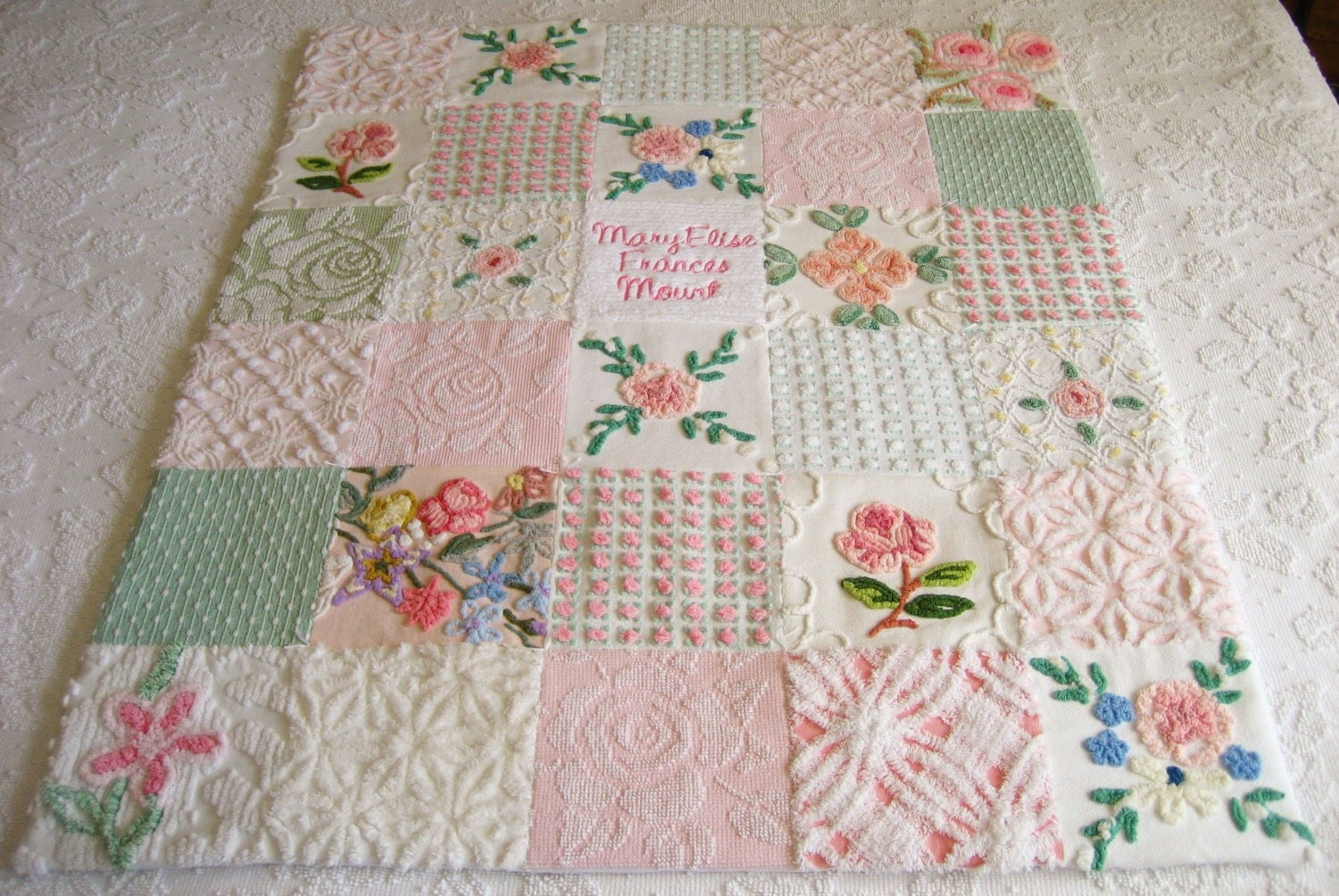Vintage Baby Quilt Patterns Free : Personalized Vintage Chenille Baby Quilt by SURELYCHENILLE