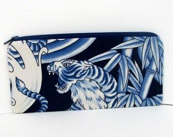 Zippered Pencil Pouch, Crouching Tiger, Asian Indigo Blue Bag