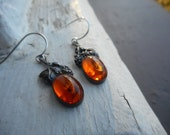 Vintage Sterling Silver and Golden Baltic Amber Victorian style Rustic Grapes and leaves leaf emblem  earrings